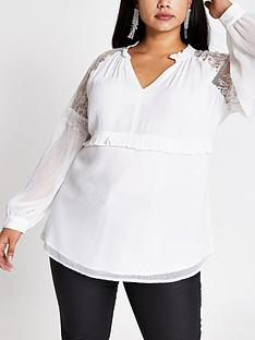 ri-plus-ri-plus-cream-lace-v-neck-sheer-blouse--white