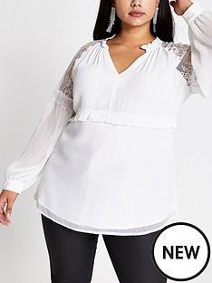 ri-plus-ri-plus-cream-lace-v-neck-sheer-blouse--white