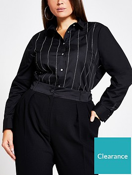 ri-plus-sequin-stripe-shirt-black