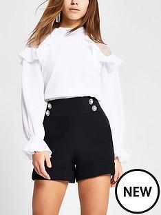 ri-petite-ri-petite-black-button-front-tailored-shorts-black