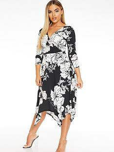 quiz-floral-wrap-hanky-hem-dress-blackcreamstone