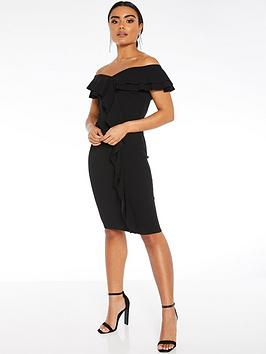 quiz-scuba-crepe-bardot-double-frill-midi-dress-black