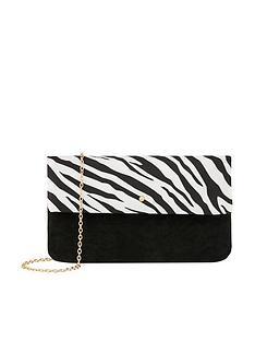 accessorize-zebra-foldover-clutch