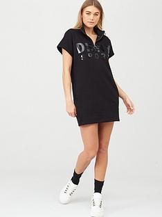 dkny-sport-logo-half-zip-pullover-dress-black