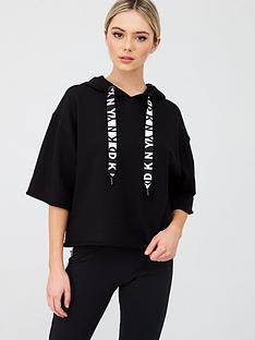 dkny-sport-two-tone-boxy-hooded-short-sleeve-logo-sweatshirt-black