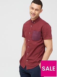 v-by-very-short-sleeve-stretch-pocket-print-shirtnbsp-nbspburgundy