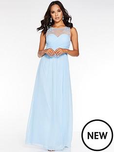 quiz-chiffon-high-neck-embellished-maxi-dress-blue