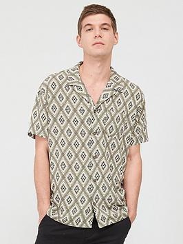 v-by-very-short-sleeved-diamond-tile-printed-shirt-khaki