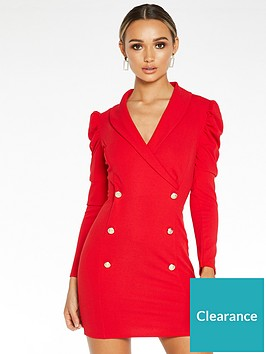 quiz-scuba-crepe-ruche-long-sleeve-bodycon-dress-red