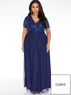 quiz-curve-v-neck-sequin-tulle-bridesmaid-maxi-dress-navy