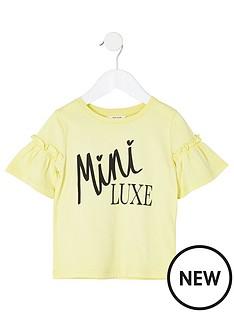 river-island-mini-mini-girls-printed-frill-sleeve-t-shirt-yellow