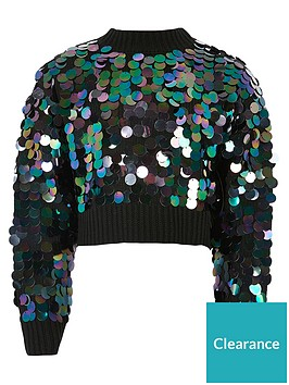 river-island-girls-slouch-sequin-cropped-jumper--nbspblack