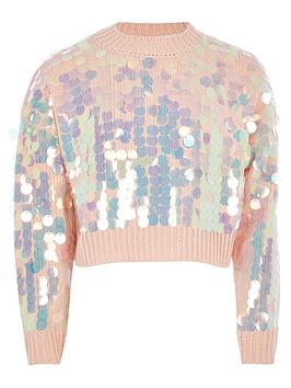 river-island-girls-slouch-sequin-cropped-jumper-pink