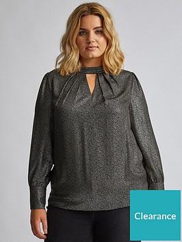 dorothy-perkins-curve-foil-long-sleeve-top-black