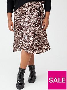 boohoo-plus-boohoo-plus-woven-satin-animal-print-ruffle-midi-skirt-black