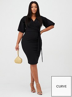 boohoo-plus-boohoo-plus-wrap-midi-dress-black