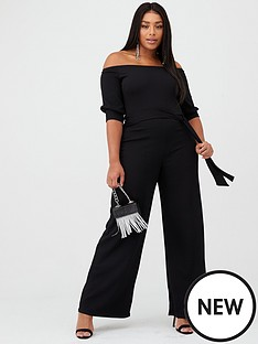 boohoo-plus-boohoo-plus-off-shoulder-tailored-self-belt-jumpsuit-black