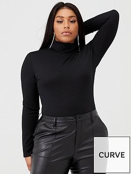 boohoo-plus-boohoo-plus-jumbo-ribbed-roll-neck-jersey-bodysuit-black