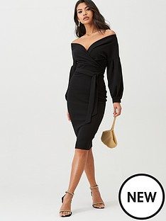 boohoo-boohoo-off-the-shoulder-wrap-midi-dress-black