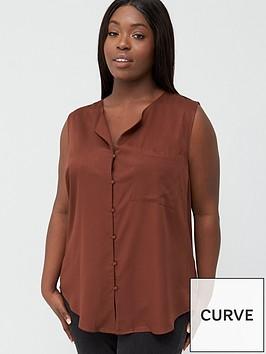 junarose-curve-veronica-sleeveless-blouse-brown