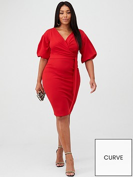 boohoo-plus-boohoo-plus-wrap-midi-dress-red