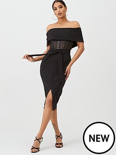 lavish-alice-sheer-corset-bardot-midi-dress-black