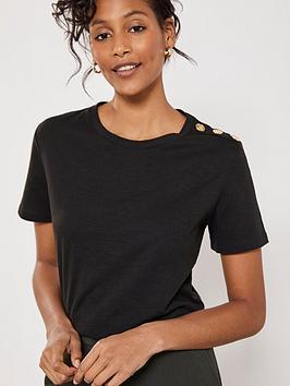 mint-velvet-military-button-t-shirt-black