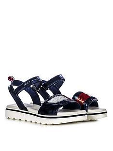 tommy-hilfiger-girls-sequin-strap-sandals-navy