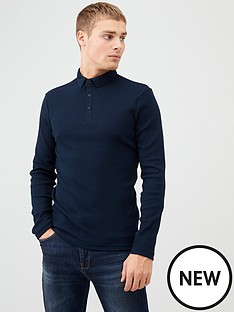 river-island-navy-long-sleeve-muscle-fit-rib-polo-shirt