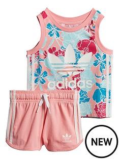 adidas-originals-infantnbspgirls-tank-short-set-pink
