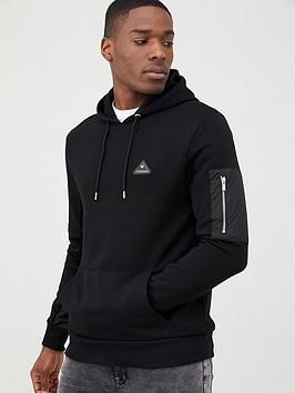 river-island-mcmlx-nylon-panel-slim-fit-hoodie-black