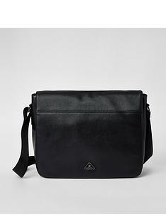 river-island-black-triangle-badge-folder-over-strap-bag