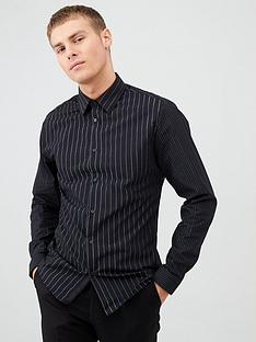 river-island-black-silver-stripe-long-sleeve-shirt