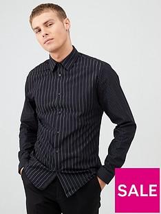 river-island-black-silver-stripe-long-sleeve-shirt