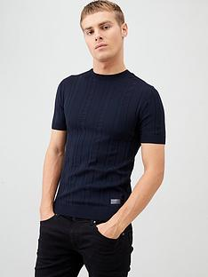 river-island-navy-ribbed-muscle-fit-knitted-t-shirt