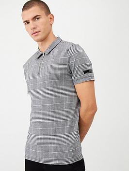 river-island-check-print-zip-neck-polo-shirt-greynbsp