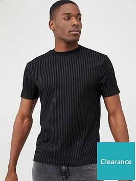 river-island-stripe-short-sleeve-slim-fit-t-shirt-black