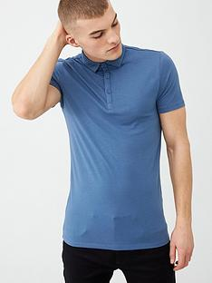 river-island-blue-muscle-fit-polo-shirt