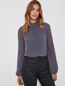 mint-velvet-studded-high-neck-top-grey