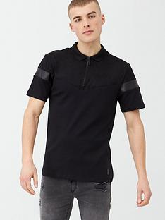 river-island-black-slim-fit-suedette-blocked-polo-shirt