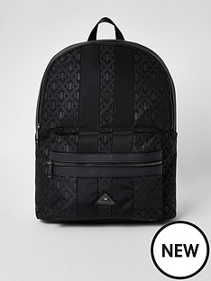 river-island-black-rir-monogram-zip-top-backpack