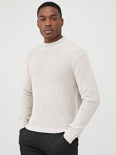 river-island-stone-slim-fit-waffle-knitted-jumper