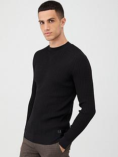 river-island-black-muscle-fit-cable-knitted-jumper