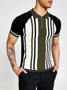 river-island-khaki-stripe-polo