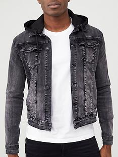 river-island-black-muscle-fit-hooded-denim-jacket