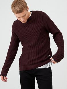 river-island-dark-red-slim-fit-waffle-knit-jumper