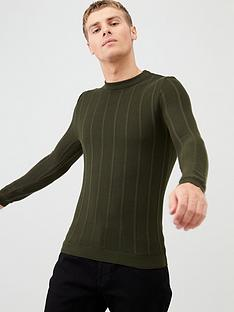 river-island-khaki-muscle-fit-rib-knitted-jumper