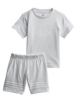 adidas-originals-infantnbspoutline-shorts-set-grey