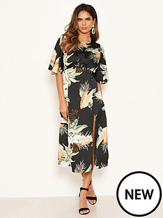 ax-paris-printed-short-sleeve-midi-dress-black