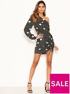 ax-paris-petite-polka-dot-one-sleeve-dress-black